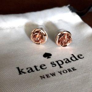 NWOT kate spade rose gold earrings in flower shape